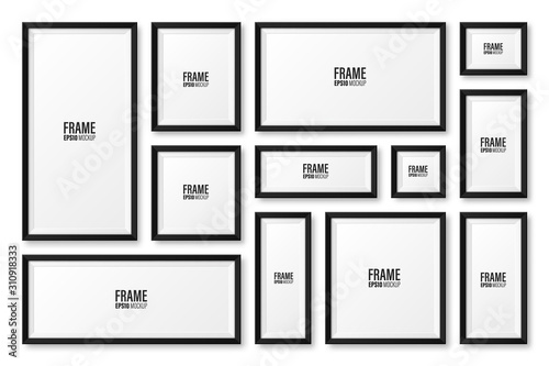 Realistic blank black picture frame with shadow collection isolated on white background. Modern poster mockup. Empty photo frame for art gallery or interior. Vector illustration.