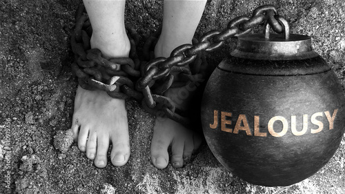 Photo Jealousy as a negative aspect of life - symbolized by word Jealousy and and chai