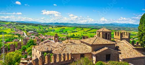 Fotografie, Tablou Gradara medieval village view from castle, Pesaro and Urbino, Marche region, Ita