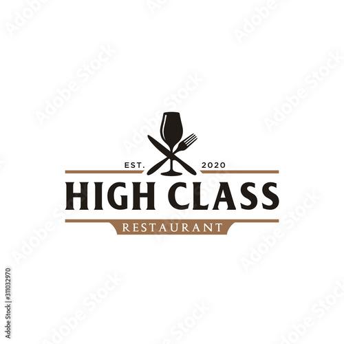 Vászonkép Luxury Wine Glass with Spoon Fork Knife for Restaurant Bar Bistro Vintage Retro