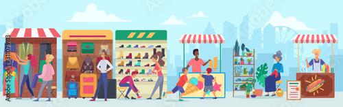 Fotografie, Tablou Street clothing and food market flat vector illustration