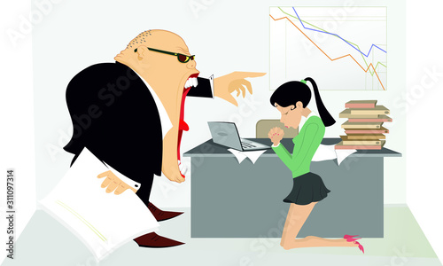 Obraz na plátne Angry boss and employee woman illustration