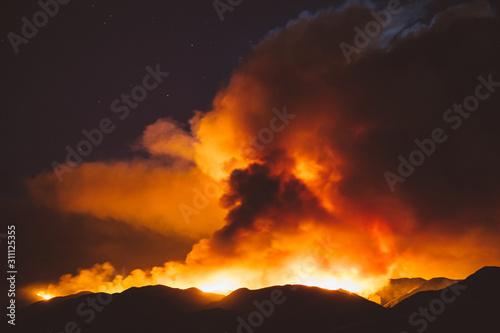 Fotografie, Obraz California wildfire burning at night