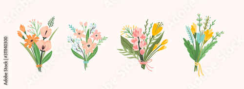 Leinwand Poster Vector illustration bouquets of flowers. Design template.
