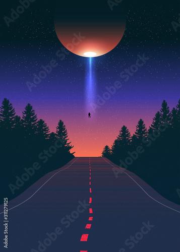Canvas Print Alien Abduction Vector Art
