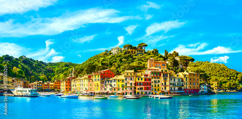 Obraz na plátně Portofino luxury village landmark, panorama view. Liguria, Italy