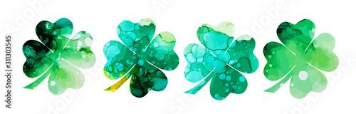 Fotografia Set of watercolor four-leaf clovers