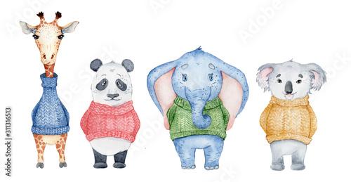 Watercolor animals character collection. Panda, giraffe, koala, elephant