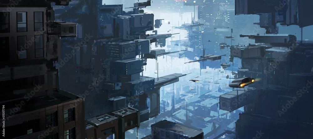 Wielowymiarowa przestrzeń miejska, egzotyczne koncepcje, malarstwo cyfrowe. <span>plik: #311317794 | autor: liuzishan</span>