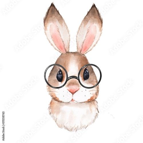 Fotografie, Obraz Little bunny with glasses. Cute watercolor illustration