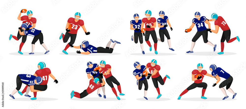 Collection of people playing american football. Set of different players pose in rough kind sport game. American football players in action. Professional athletes running with ball in hands <span>plik: #311499361 | autor: robu_s</span>