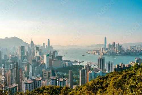 Photo Hong Kong City skyline , and Kowloon and HongKong Island -