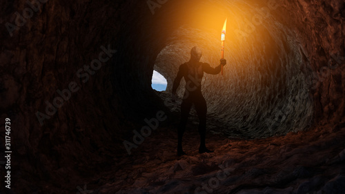 Slika na platnu 3d Illustration of a reptilian humanoid holding a burning torch in a cave