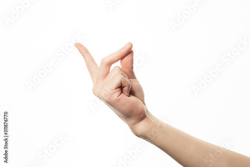 Leinwand Poster Human hand in snapping finger gesture isolate on white background