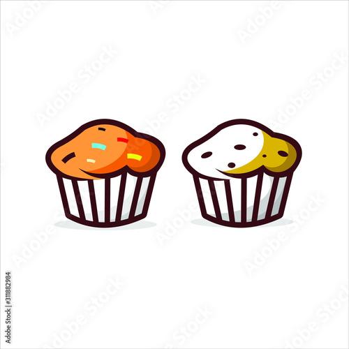 Fotografia fun cartoon modern muffin cake vector