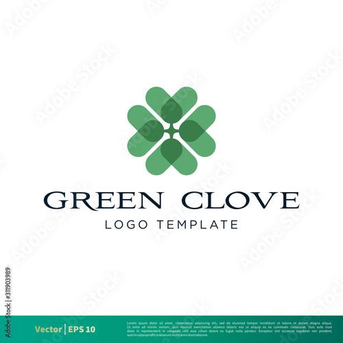 Fotografía Green Clover Icon Vector Logo Template Illustration Design