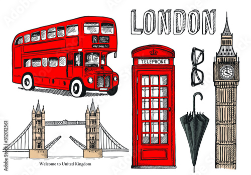 Canvas Print Vector hand drawn illustration with London symbols