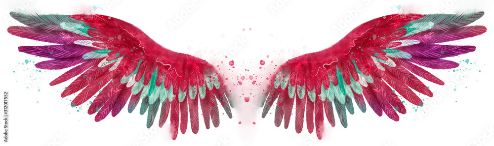 Beautiful watercolor magic bright pink red wings with green and white feathers <span>plik: #312017552   autor: Евгения Савченко</span>