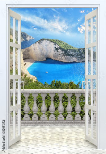 Photo Balcony with concrete balustrade Ocean view from balcony - 3d rendering