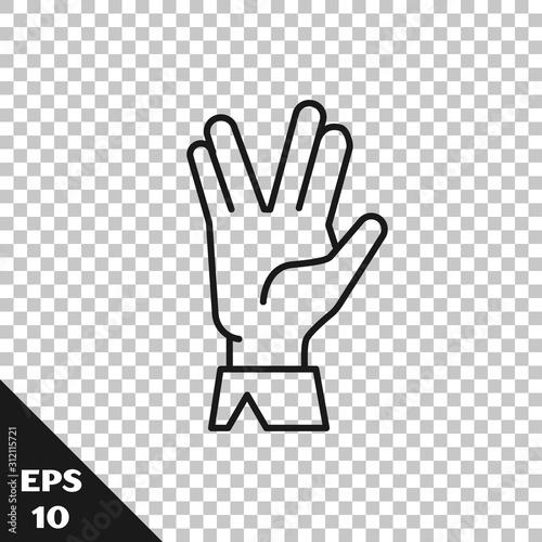 Obraz na płótnie Black line Vulcan salute icon isolated on transparent background