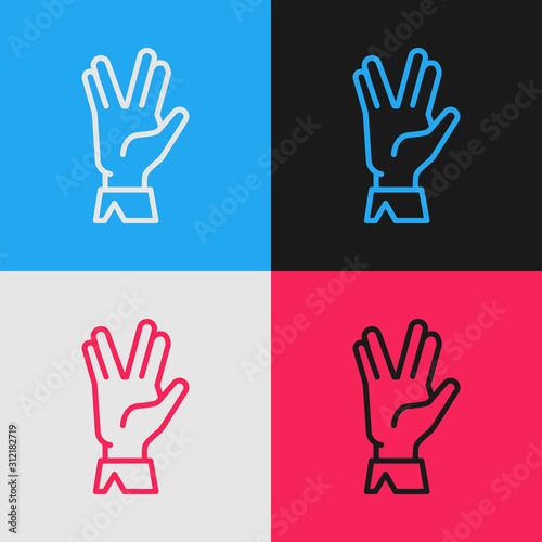 Color line Vulcan salute icon isolated on color background Fototapeta