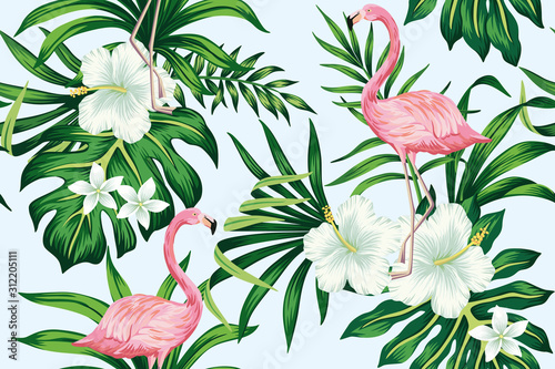 Canvas-taulu Tropical white hibiscus plumeria floral green leaves seamless pattern pink flamingo blue background
