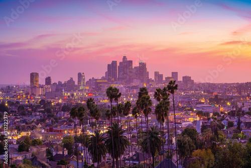 Naklejki na meble Niesamowity widok na zachód słońca z palmą i centrum Los Angeles  Kalifornia, USA