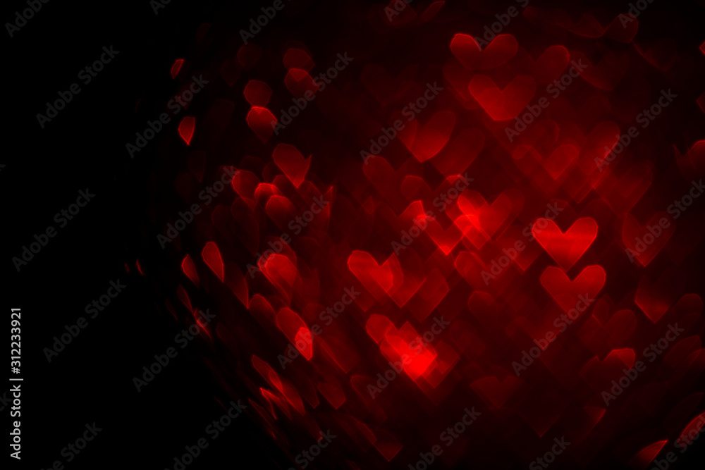 valentines day background with red hearts bokeh and copy space, love concept template <span>plik: #312233921   autor: IBeart</span>