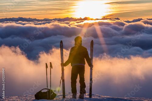 Canvas Print Skitour über den Wolken
