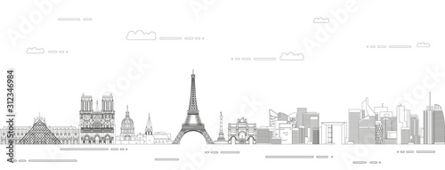 Photo Paris cityscape line art style vector illustration
