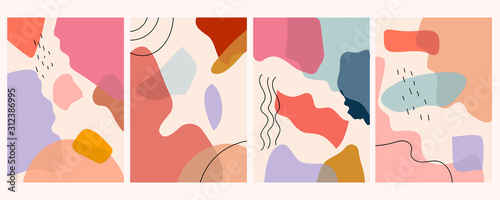 Set of abstraction contemporary modern trendy vector. Minimalist abstract art. Hand drawn various shapes and doodle objects.