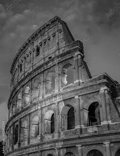 Obraz na płótnie Rome Colosseum at Night Architecture in Rome City Center Black and White Photogr
