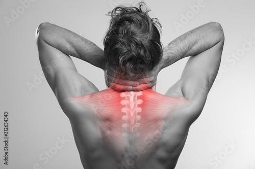 Fotografie, Obraz Neck pain, upper spine, cervical and thoracic