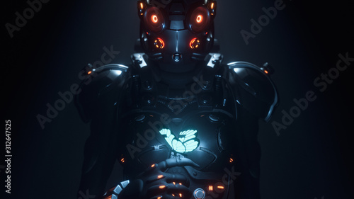 Fotografia 3d illustration of sci-fi cyborg female in shiny black metal armor suit with helmet with red luminous glasses looking at the glowing butterfly landed on her finger in a night scene with air pollution