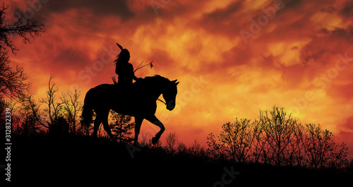 Canvas Print Indian of America on horseback at sunset