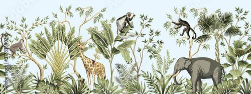 Fotografia Tropical vintage botanical landscape, palm tree, banana tree, plant, palm leaves, giraffe, monkey, elephant floral seamless border blue background
