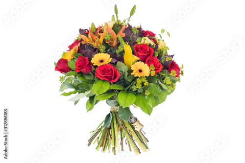 Leinwand Poster bouquet of flowers isolated on white