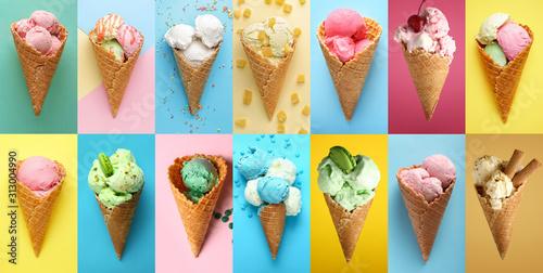 Valokuvatapetti Collage with tasty ice-cream on color background