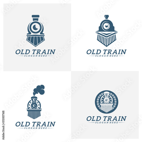 Photo Set of Classic train logo concept, Locomotive logo design vector template, Creat