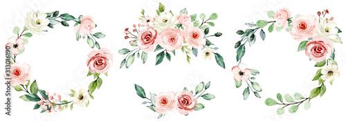 Wieńce, ramki kwiatowe, kwiaty w akwareli różowe róże, ilustracja ręcznie malowana. Pojedynczo na białym tle. Idealnie nadaje się do projektowania kart okolicznościowych.