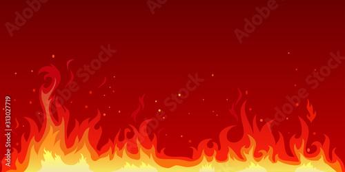 Obraz na plátně Vector illustration of a hot flame that is spreading