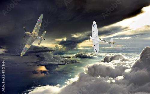 3d rendering of two world war two airplanes flying together in the clouds Fototapet
