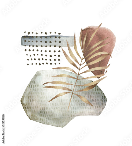 Photographie Geometric poster with watercolor, gold, marble elements and leaf on white background