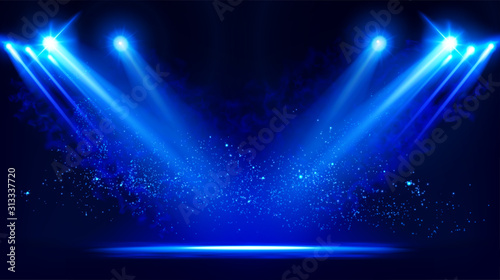 Fotografia Illuminated stage with scenic lights and smoke
