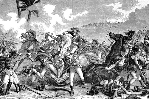Fotografia Cavalry charge on the beaches in the battle of Alexandria or battle of Canope, 21 March 1801