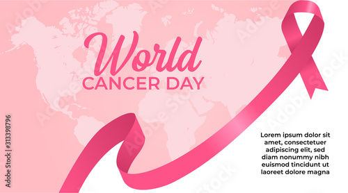 Canvas Print February 4, World Cancer Day with Pink Ribbon