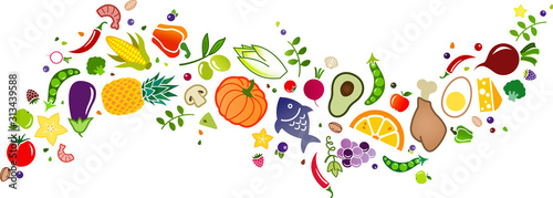 healthy, colorful & balanced diet, food icon banner: flat lay of cartoon foods and ingredients isolated on white – vector illustration