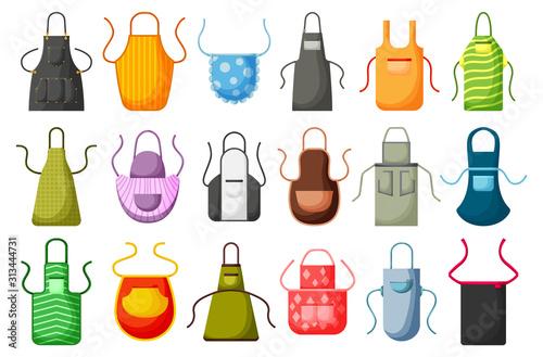 Canvastavla Kitchen apron vector cartoon icon set