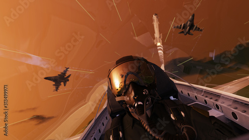 Fotografia Missile over jet fighter pilot in cockipt view of air combat 3d render