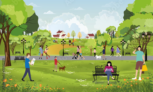 Canvas Print Morning city park with girl walking the dog, young boy talking on phone, women s